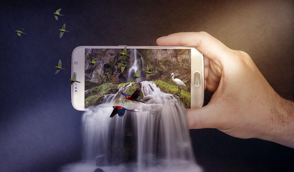 Smartphone med natur